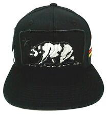 CALIFORNIA REPUBLIC Snapback Cap Hat CA CALI Bear OSFM Black NWT