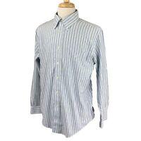 Brooks Brothers Men's Regent Non-Iron Golden Fleece Blue Stripe Shirt Large