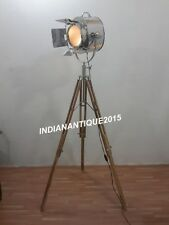 NAUTICAL THEATER SPOTLIGHT FLOOR LAMP SEARCHLIGHT WITH TRIPOD STAND