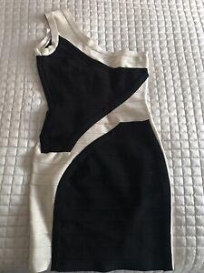 Herve Leger Style Black/Nude Ladies Bodycon One Shoulder Dress Size S/M
