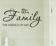Wall Sticker Decal Quote Vinyl Art Lettering Family The Essence of Life F21