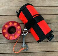 Scuba Diving SMB DSMB + 15m Aluminium Finger Spool Reel Red Double Snap Bolt