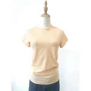 Free People We the Free Pink Yellow Striped Crew Neck Top T-Shirt