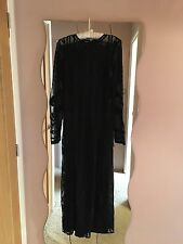BNWT Miss Selfridge Black Lace Mesh Embroidered Maxi Dress 10 rare!