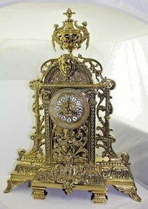 """Tiffany & Co. New York Gothic AD. MOUGIN Antique Bronze 22"""" Figural Clock  AS IS"""