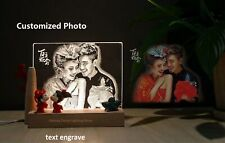 Customized Photo Night Light Text Engraved Romantic Personalized Bedside Lamp