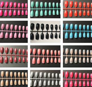 24 Short Stiletto Almond Shaped Full Cover False Nails Coloured - UK Seller