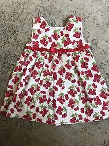 Girls Cotton White Cherry Print Rachel Riley Dress 6 Years