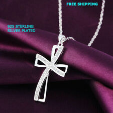 Women 925 Sterling Silver Plated Warp Cross Pendant Necklace Chain Jewelry