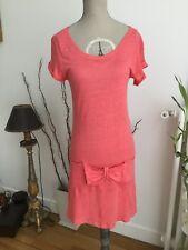 Ravissante robe corail 100% Lin CLAUDIE PIERLOT T.1 ou 36 comme neuve!