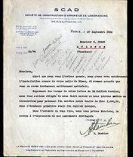 """PARIS (XV°) CONSTRUCTION D'APPAREILS de LABORATOIRE """"SCAD / E. DAMBIER"""" en 1933"""