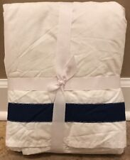 NEW Pottery Barn Teen Suite Ribbon QUEEN Bedskirt ROYAL NAVY