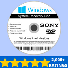 Sony Windows 7 Recovery Reinstall Repair Install Installation DVD Disc 32/64