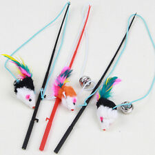 1 Pcs Elastic Kitten Toy Pet Cat Rod Wand Teaser Teasing Mouse Bell Play Games