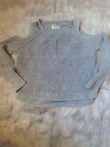 Hollister Cold Shoulder Sweater Gray Ribbed Small Long Sleeve