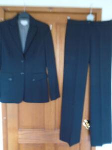 FAB Black Very Smart Classic Trouser Suit ITALIAN Designer 8 10 EXC COND