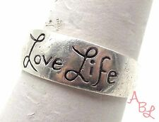 Sterling Silver Vintage 925 Love Life, Be Brave Ring Sz 8.5 (4.2g) - 561032