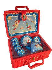 NEW 'Rocket Man' Childrens Boys Tin Tea Set 15pc w/ Basket