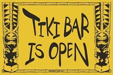 Tiki Bar Is Open Aluminum Metal Traffic Parking Road Street Sign Wall Decor