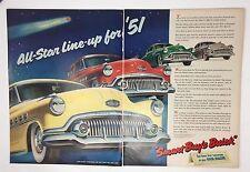 Original Print Ad 1951 Vintage BUICK Vintage Eight Fireball 2 Page Artwork