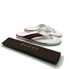 GUCCI Mens White GG Guccissima Leather Flip Flop w Signature Web US 10.5 EU 44.5