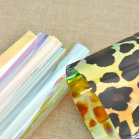 A4 Iridescent Holographic Leopard Printed Fabric Sheet DIY Handmade Bows Craft
