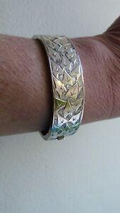 Rare Victorian Sterling Silver Bangle Bracelet Leaf Engraved W Davenport 1882