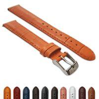 Ladies Genuine Leather Mock Croc Watch Strap Band Crocodile Padded SS Buckle