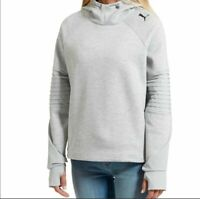 Puma Womens Moto Sweatshirt Hoodie NWT Logo Thumb Holes Long Sleeves Gray S / M