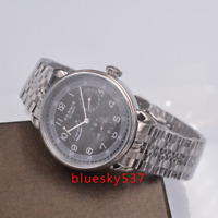 42mm Parnis Black dial Date Energie reserve SS ST1731 Automatisch Uhr mens watch