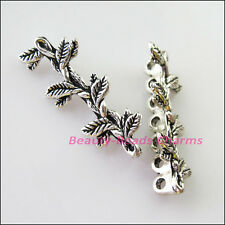 5Pcs Tibetan Silver 7 Hole Leaf Spacer Bar Beads Connectors Charms 12.5x31.5mm