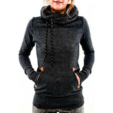 Womens Cowl Neck Hooded Sweatshirt Pullover Jumper Top Drawstring Pockey Hoodies