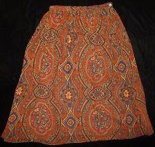 Talbots 100% Silk Orange Purple Taupe Paisley A-Line Skirt Size 12