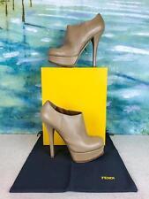$1100 FENDI Beige Leather Platform Ankle Boots Booties Women's SZ 39.5 Zip SALE!