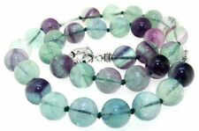 New 10mm Round Natural Rainbow Fluorite Necklace Knotted Gemstone Crystal 22inch