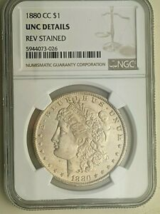 1880 CC Morgan Silver silver dollar coin NGC Rated UNC Details Reverse stained