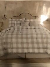King Size Comforter Set Farmhouse Check Plaid Bedskirt Humble & Kind  Gray White