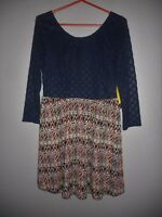 Wet Seal Dress 3/4 Navy Lace Sleeves Top Skirted Paisley Women's Plus 1X  NWT!