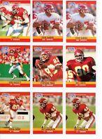1990 NFL Pro Set Football Cards Kansas City Chiefs Set of 23 Cards