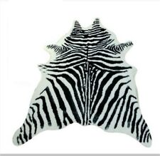 Zebra Cowhide Area Rug Tricolor Cowskin Cow Hide Faux Leather Carpet 7.9x5.6'