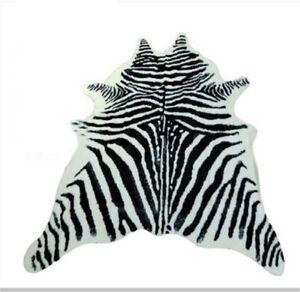 Zebra Cowhide Area Rug Tricolor Cowskin Cow Hide Faux Leather Carpet 7.9x5.6'
