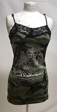 Gothic Punk Green Army Vest  With Black Lace Trim One Size