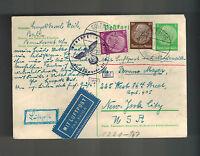 1941 Sulzburg Germany to USA Judaica Censor Israel Postcard Cover Hugo Weil