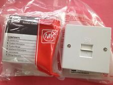 2 X MK MASTER TELEPHONE SOCKETS WHITE 412WHI COMPLETE WITH BACK BOX SURFACE MOUN
