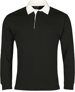 New Mens Rugby Shirt Jumper Long Sleeve Cotton Casual Regular Fit Premium Top