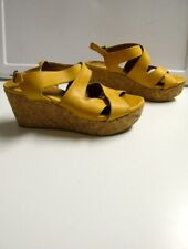 COCLICO Yellow Solid Leather Strappy Open Toe Wedge Heel Sandals Size 37 B5037