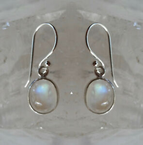 315 Rainbow Moonstone Solid 925 Sterling Silver Oval Gemstone Earring rrp$40