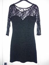 ** NEW ** STRETCHY BLACK MINI BODYCON DRESS WITH LACE SLEEVES SIZE 10