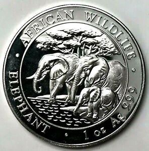 2013 Somalia Elephant 100 Shillings 1 oz Silver 9999 Fine Coin Brilliant UNC+ PL