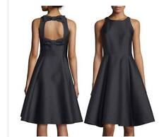 Kate Spade  Duble-Bow Back Sateen Black Fit-and-flare Dress Size:00  $448  NWT